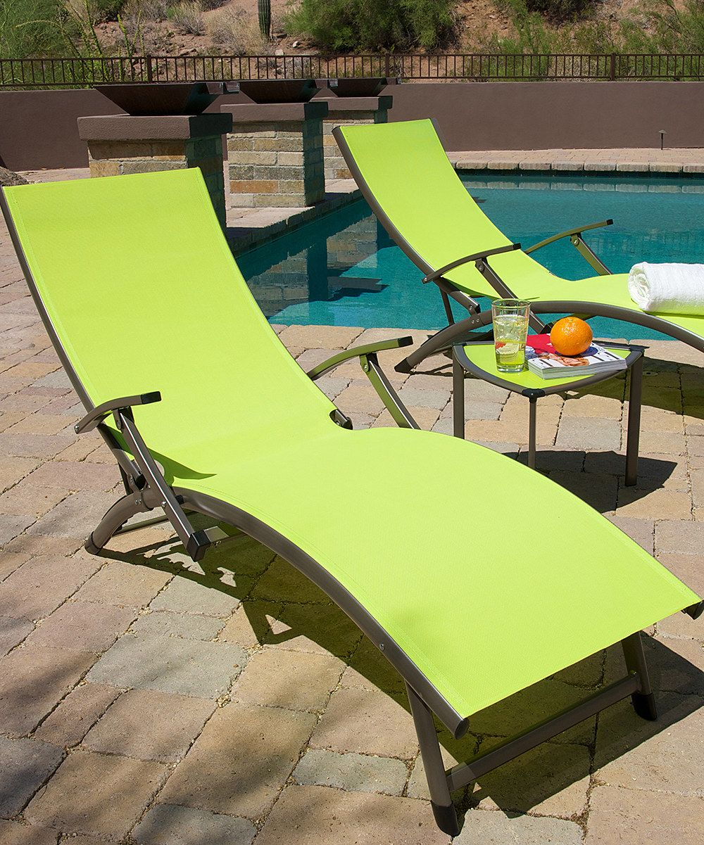 Loving This Lime Green Sol Sling Lounger Set On Zulily
