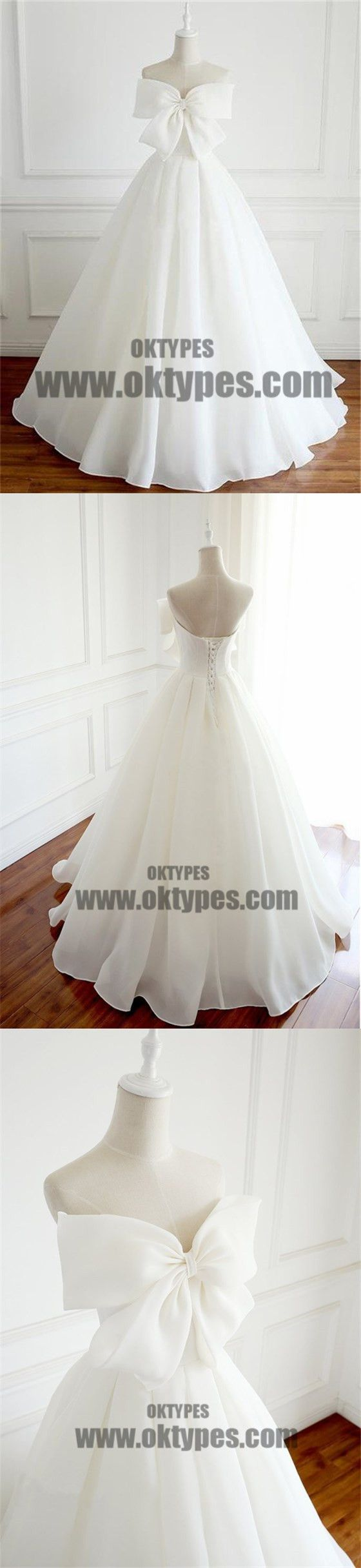 Newest design organza bow aline lace up wedding dresses chic