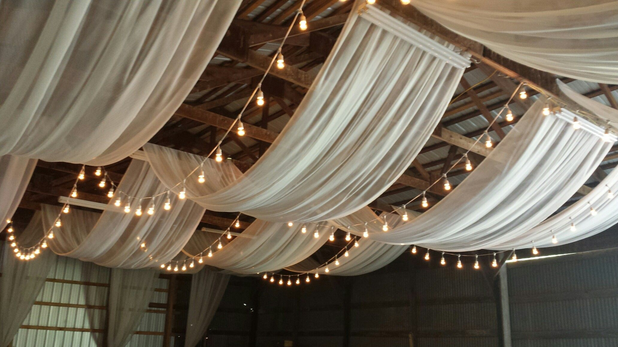Ivory Ceiling Draping With Bistro Lights Reception Ceiling