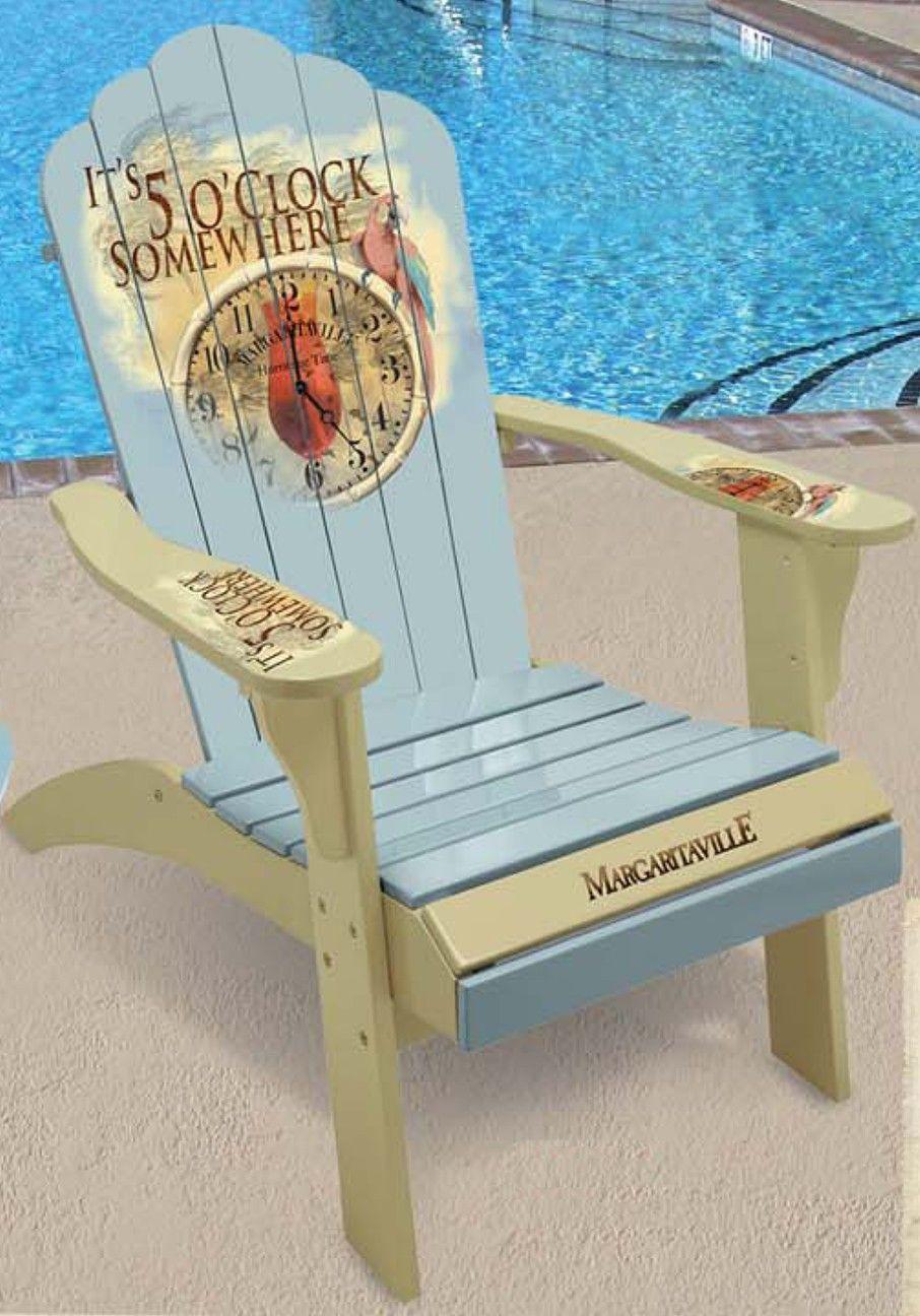 Adirondack chair beach - Margaritaville Painted 5 O Clock Time Piece Adirondack Chair
