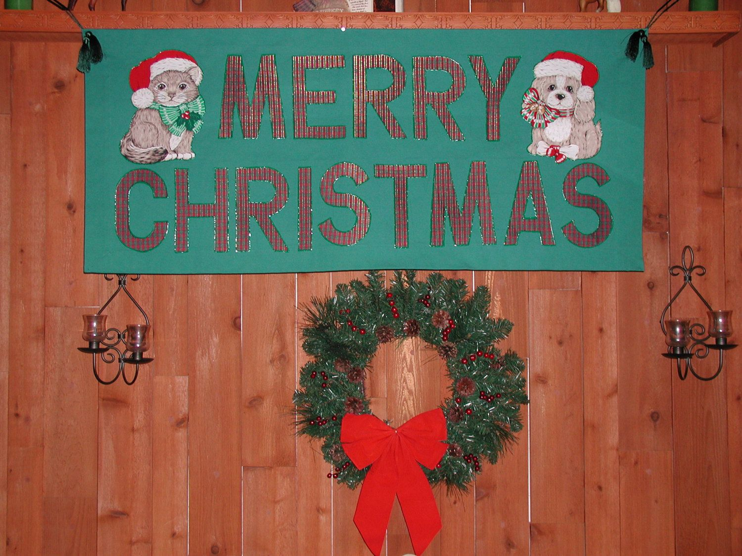 merry christmas new year banner for veterinary office or animal hospital animal rescue and adoption services made of clothe big letters by rrdesigns561 on