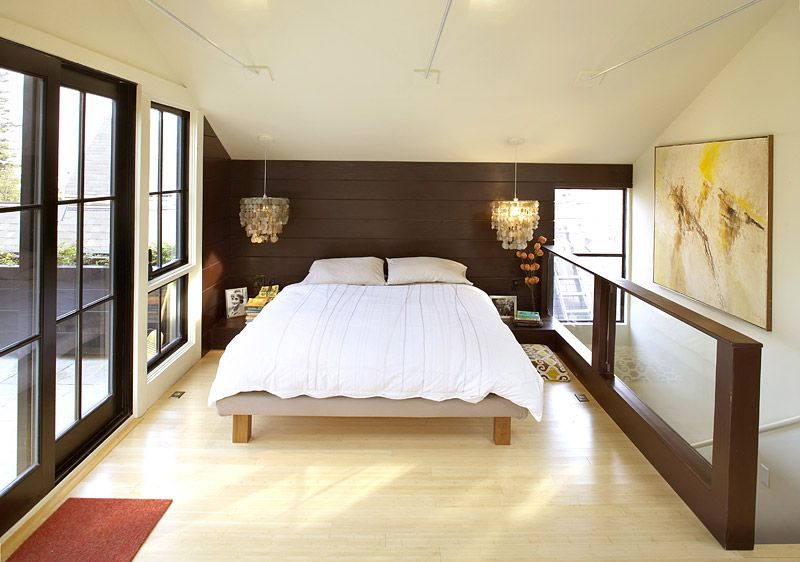 Bed Under Sloped Roof Chandeliers As Bedside Lamps Low