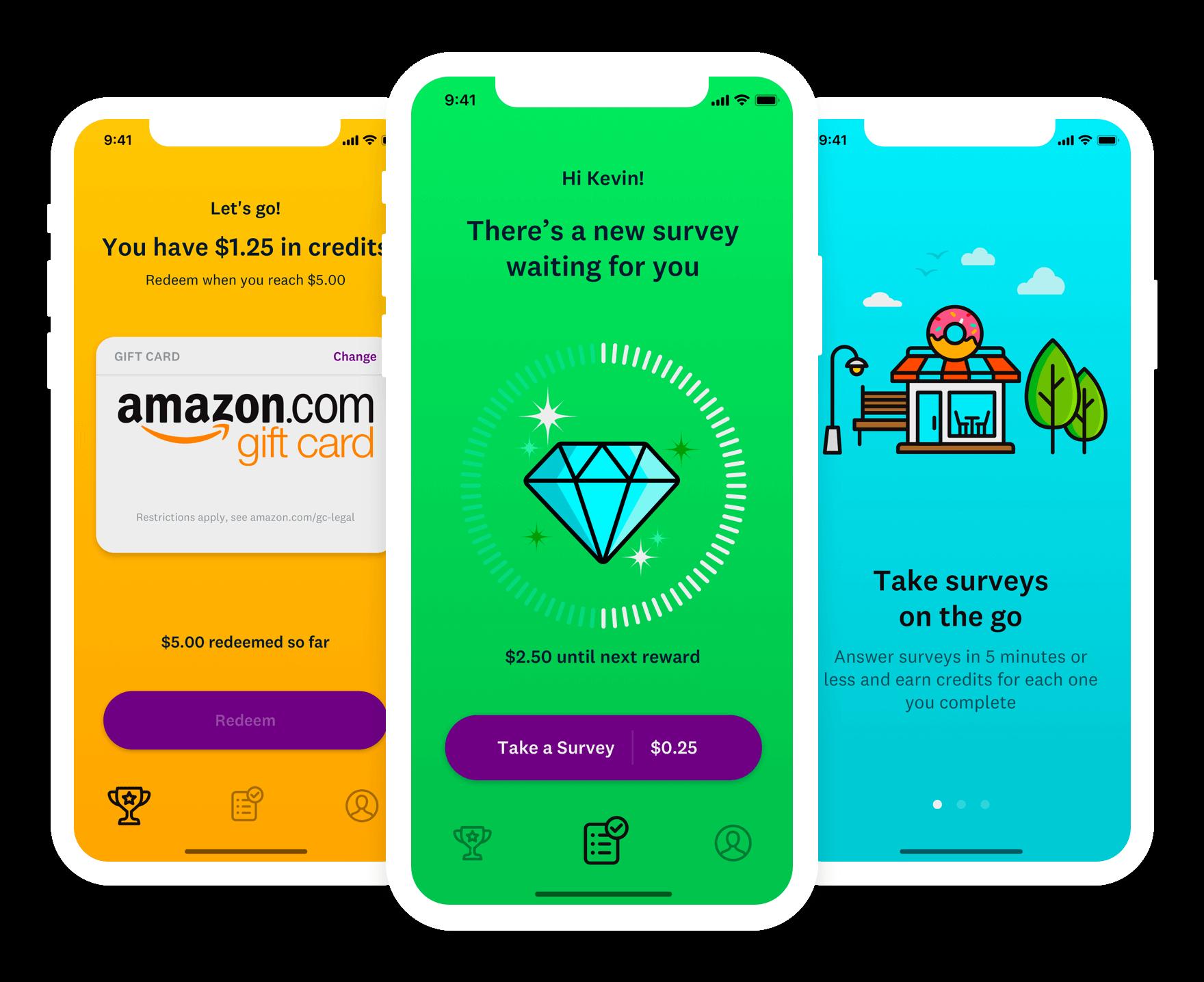 SurveyMonkey Rewards App Survey template, App design