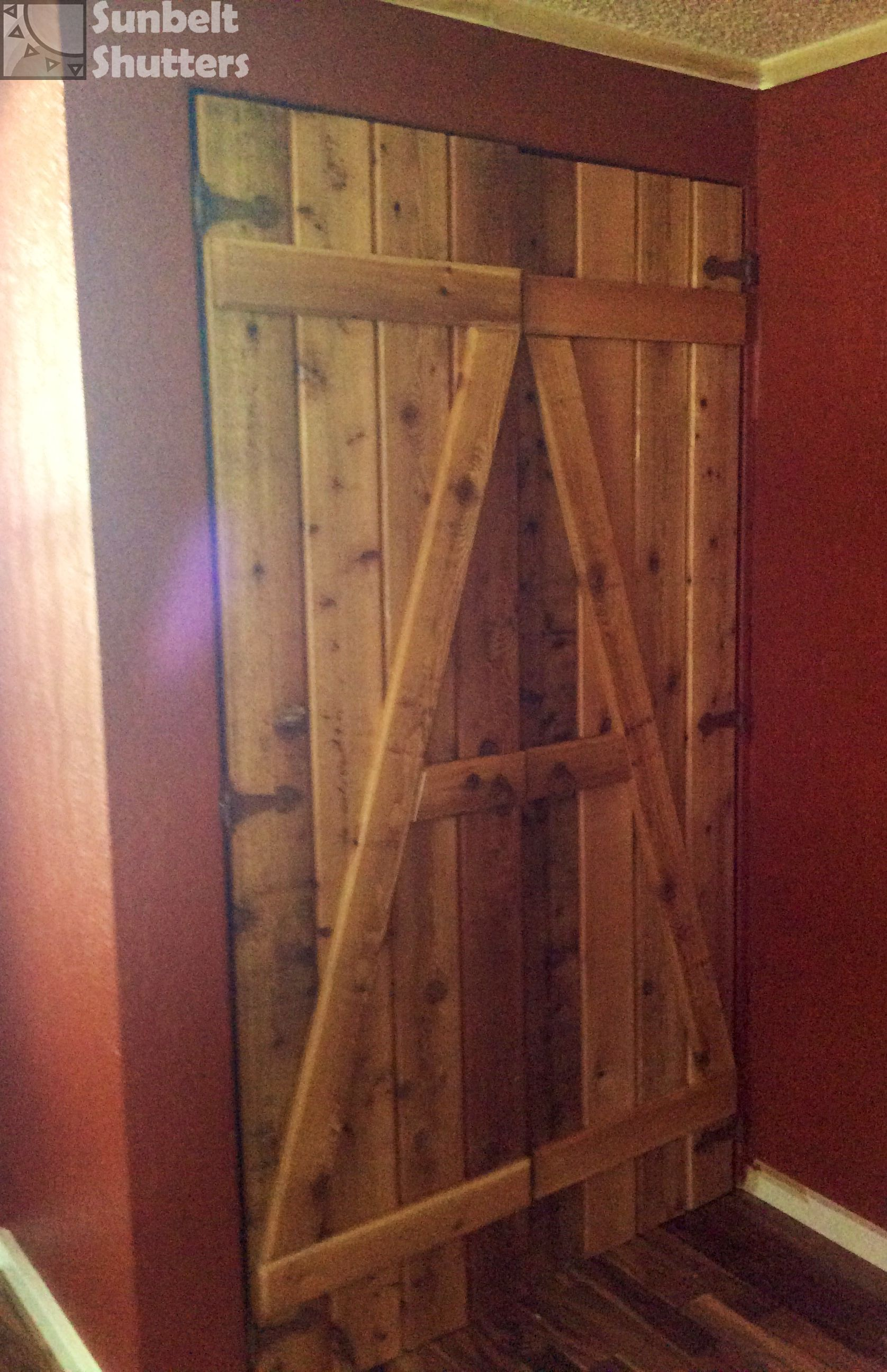 Shutters Are Not Limited To Windows! Rough Sawn Cedar Board And Batten  Shutters Used As