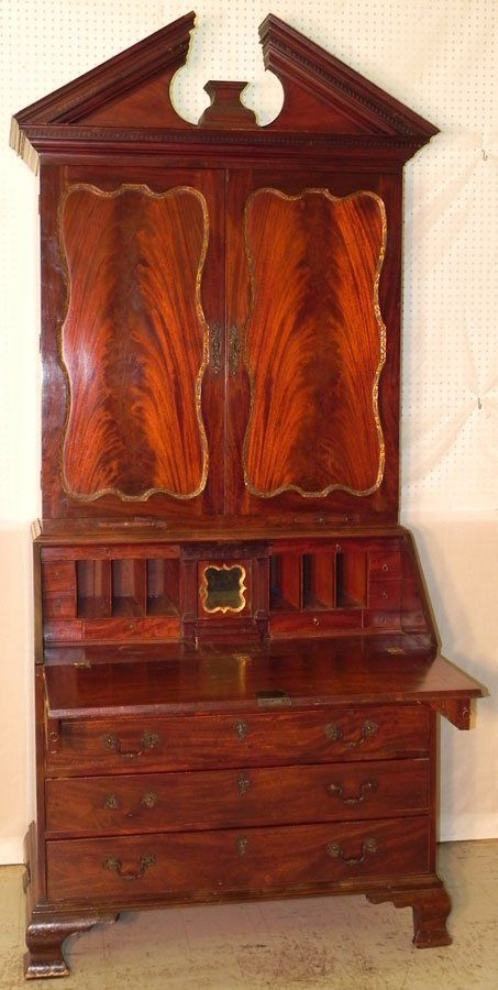 18th century Honduras mahogany Chippendale broken arch top fall front secretary with gorgeous fitted interior in both bookcase and desk, candle slides, original brasses and feet