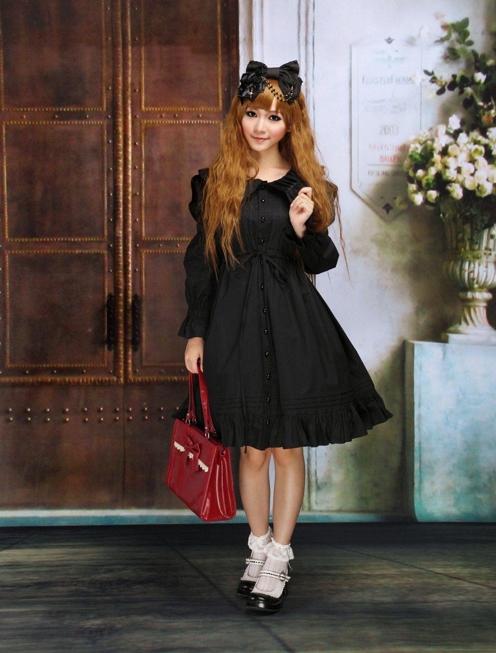 Classic Cotton Black Long Sleeves Ruffles Gothic Lolita Dress