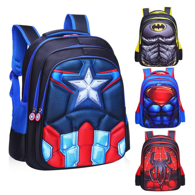 d3a5fc762f9 3D Spiderman Batman Captain America Children s School Bag Backpack for Boys  Kids
