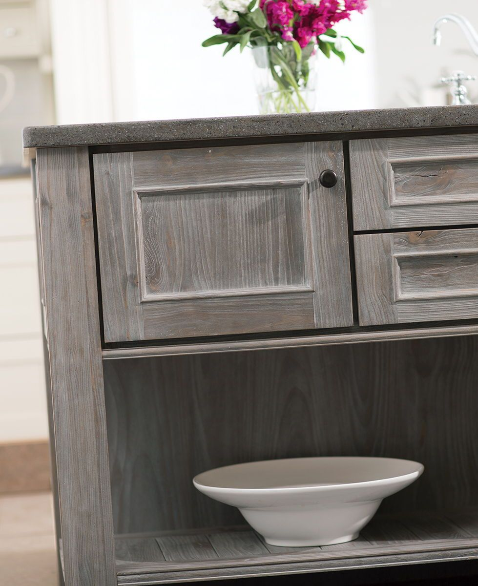 Kitchen Trends Knotty Alder Kitchen Cabinets: This Weathered Wood Kitchen Island Shown With The Marley
