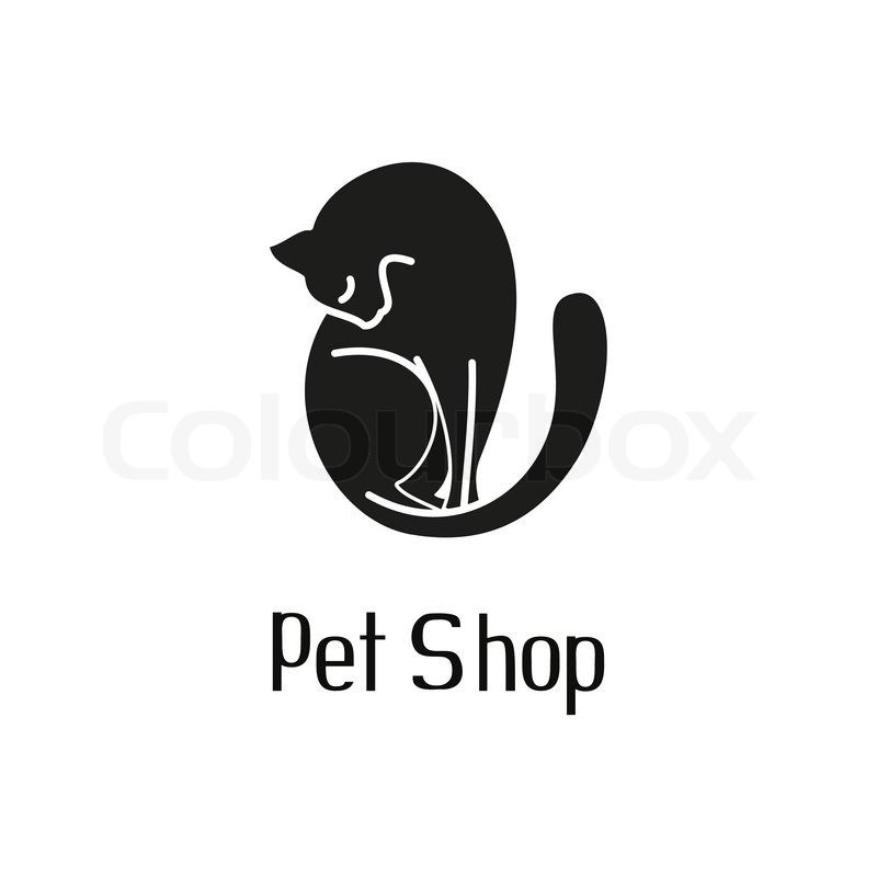 cute pet shop logo with cat and hand drawn text, washing cat sign