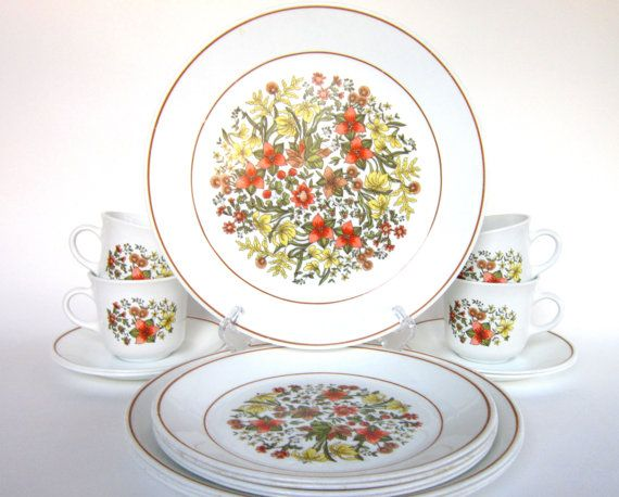 16 Pc Vintage Corelle Indian Summer Dinnerware Set For 4