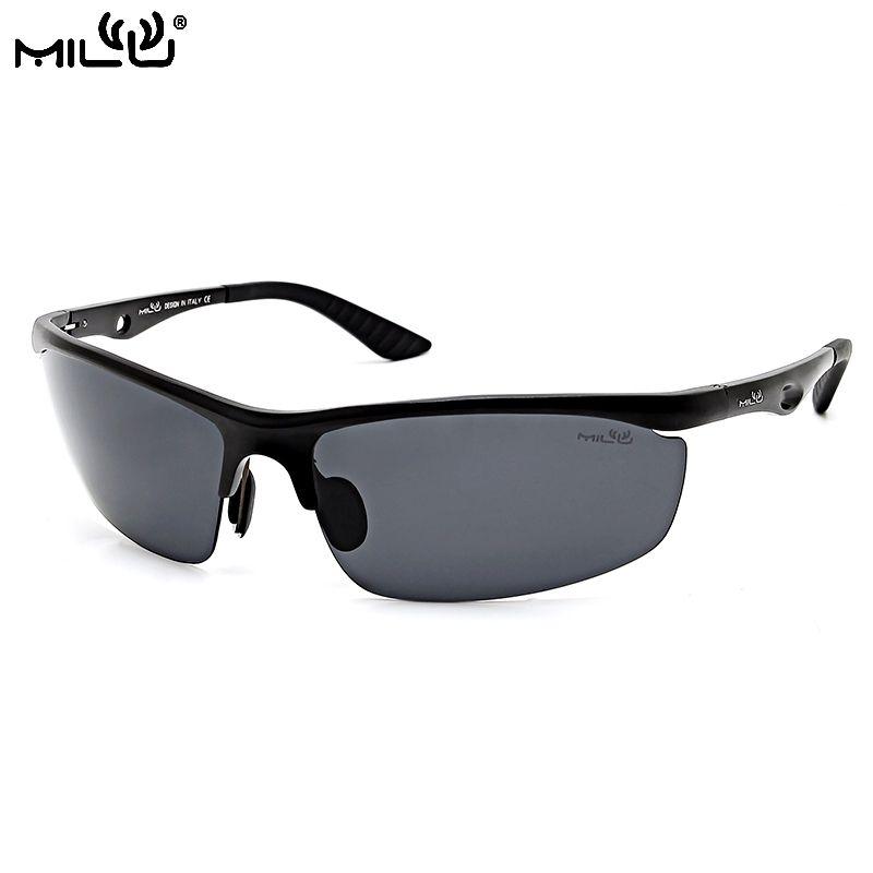 ef8c98ee9afa MILU Luxury Brand Logo Sunglasses Men Aluminum Polarized Outdoor Sport  Goggles Fishing Goggles oculos de sol