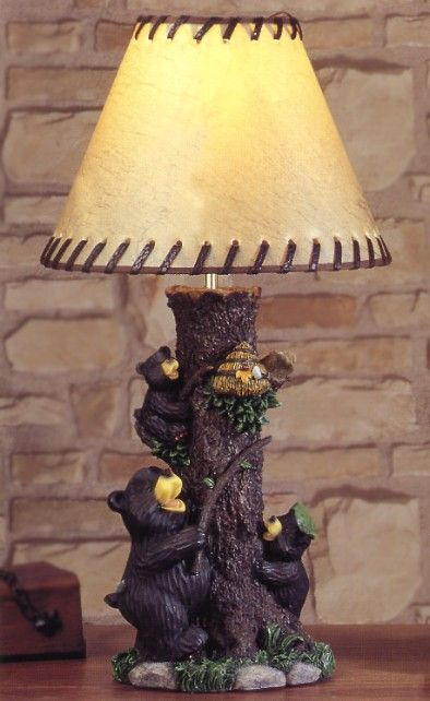 Black Bear Family Table Lamp Woodworking Lamp Black