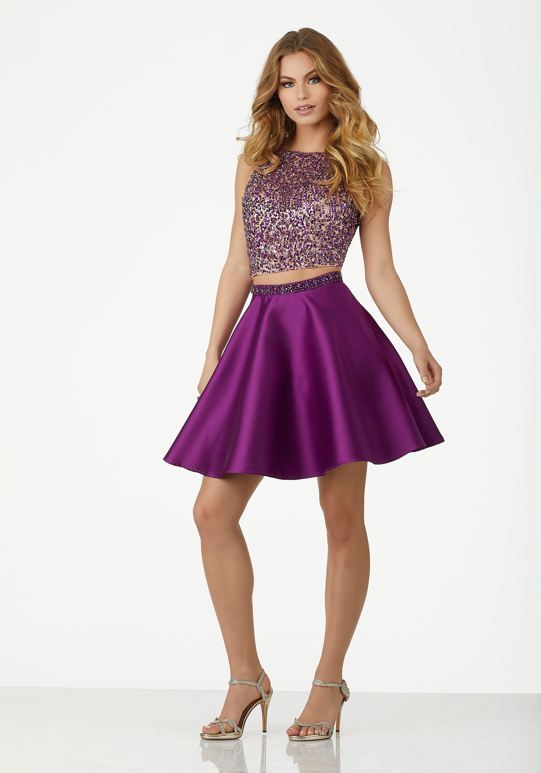 4df240a9eab Two-Piece Prom Dress with Floral Printed Organza Skirt and Beaded Larissa  Satin Top. Double Strap Detail. Zipper Back. Colors Available  Lilac Floral