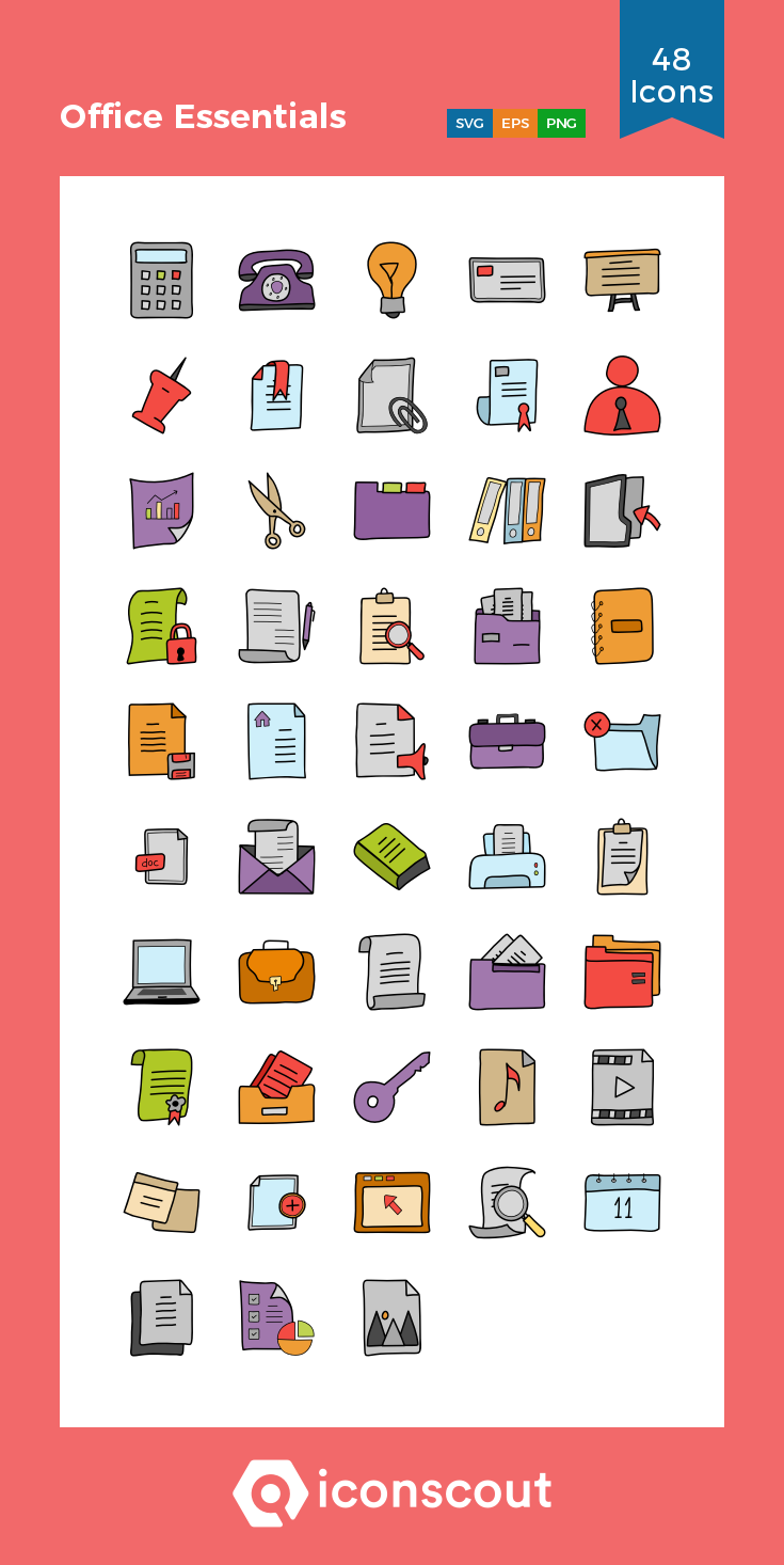 Download Office Essentials Icon Pack - 48 Doodle Icons | Icon pack ...