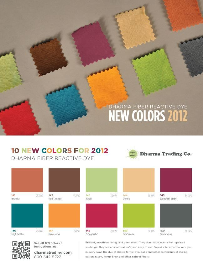New Fabulous colors in our best selling Fiber Reactive Procion Dyes for 2012!