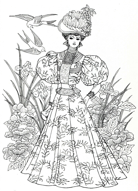 art nouveau fashions for coloring adult colouring in pinterest coloriage colorier et dessin. Black Bedroom Furniture Sets. Home Design Ideas