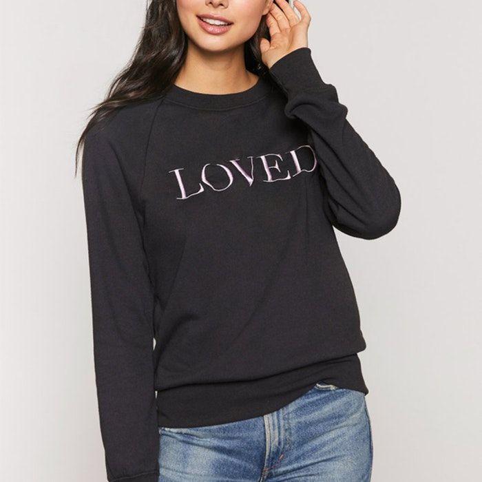 "Photo of Tröja ""Loved"" Old School Sweatshirt Vintage black – Spiritual Gangster – Yogia – Stort sortiment av yogamattor, yogakläder"