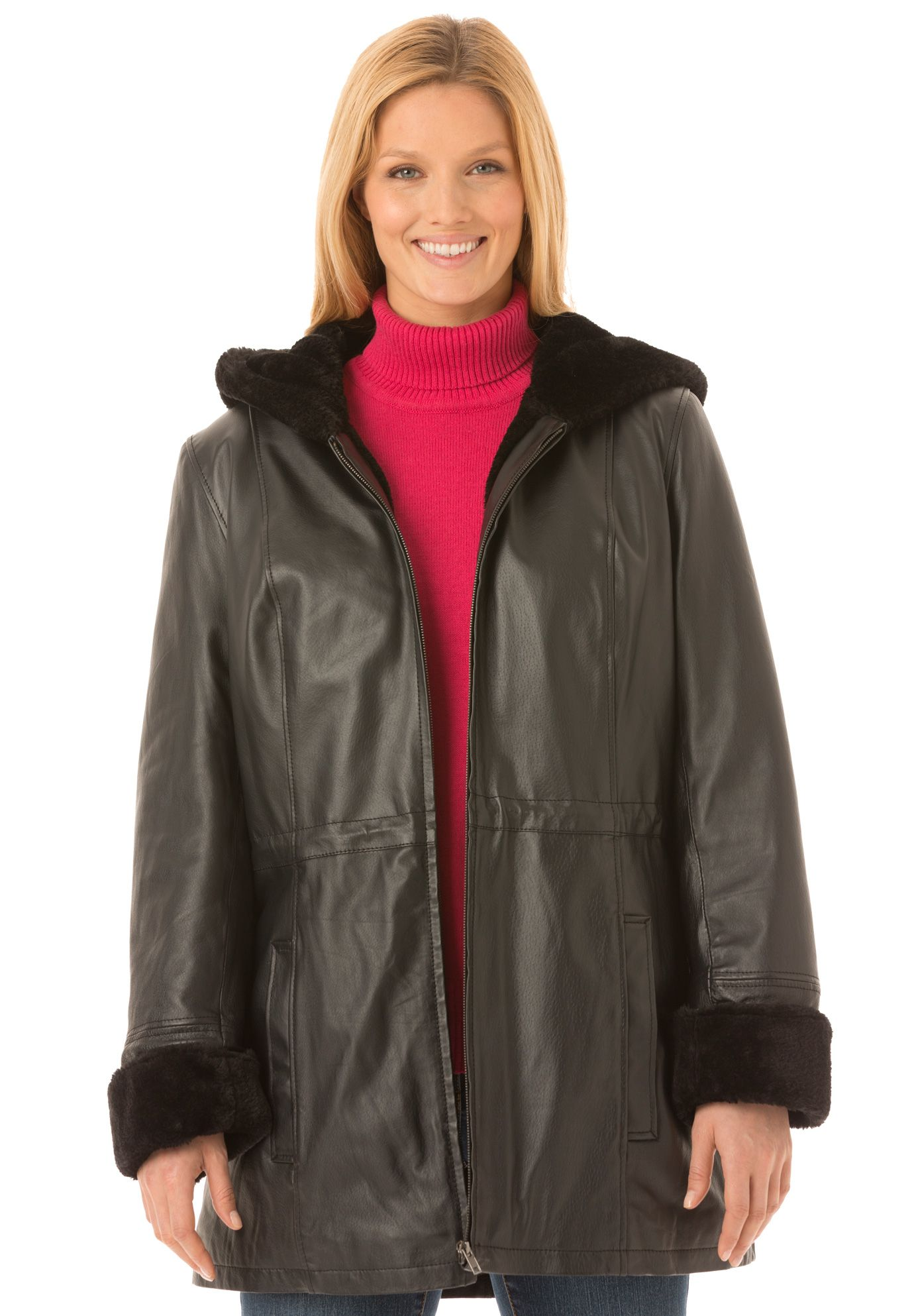 Leather Hooded Anorak Jacket Has Plush Shearling Look Trim Hooded Anorak Jacket Anorak Jacket Anorak [ 1986 x 1380 Pixel ]