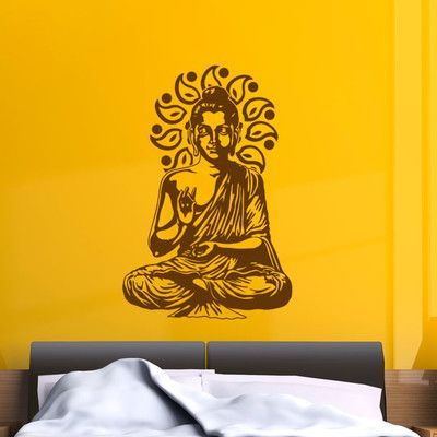 "style and apply buddha wall decal size: 36"" h x 24"" w, color: gold"