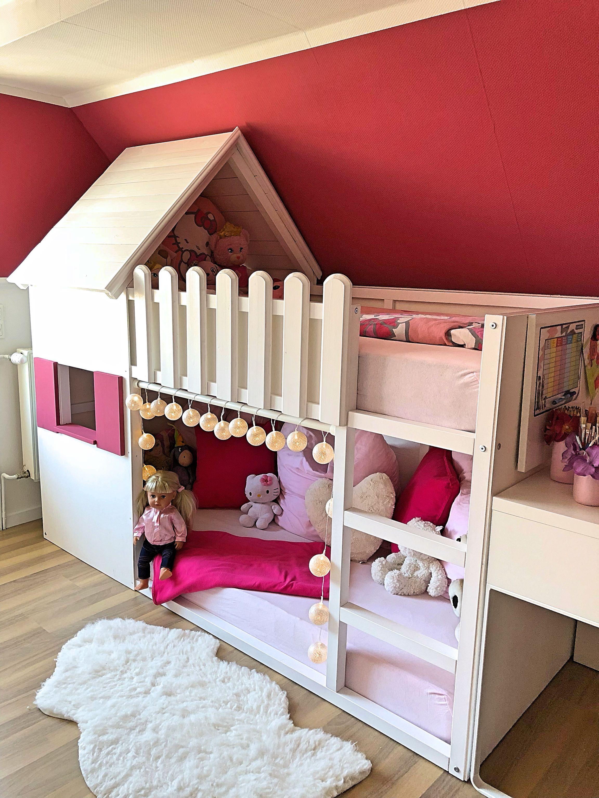 Selbstgebautes Hochbett Haus In 2020 Bett Kinderzimmer