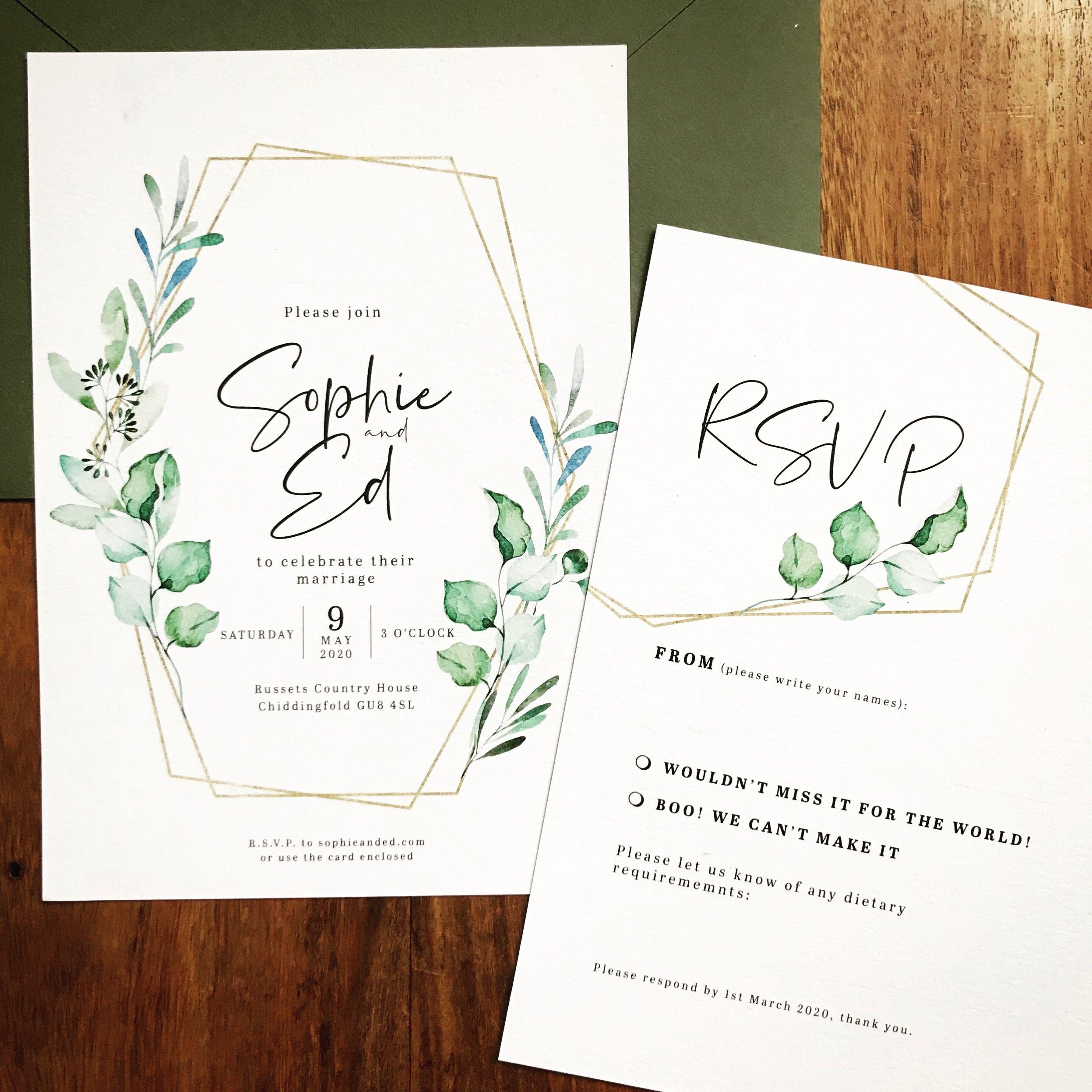 Eucalyptus wedding invitation save the date in 2020