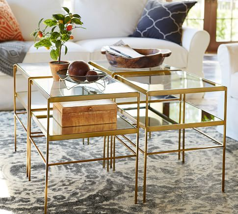 Leona Metal Console Table Brass Console Tables Pottery And Barn - Pottery barn brass coffee table