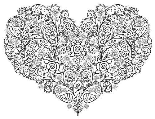 Ausmalbild Valentines Herz w500 | Basteln | Pinterest | Ausmalbilder ...