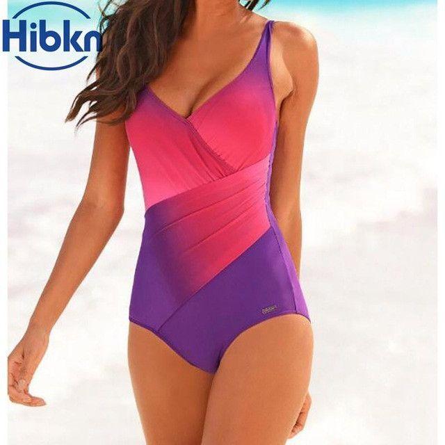 f8c160fcd9cc8 Plus size women one piece sport swimsuit halter one piece swimwear rainbow  print bathing suit women