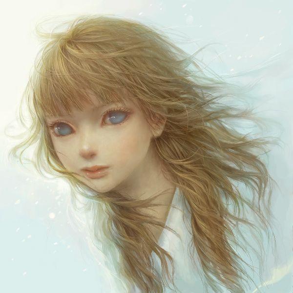 Bangs Blonde Hair Blue Eyes Creepy Lips Lo Artist Long Hair No