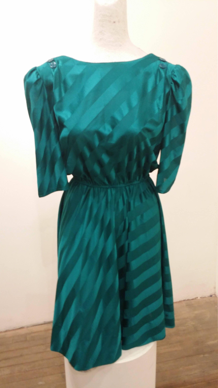 Joni Blair, Mini Dress, Vintage Green Dress, Teal Dress, 80s Dress ...