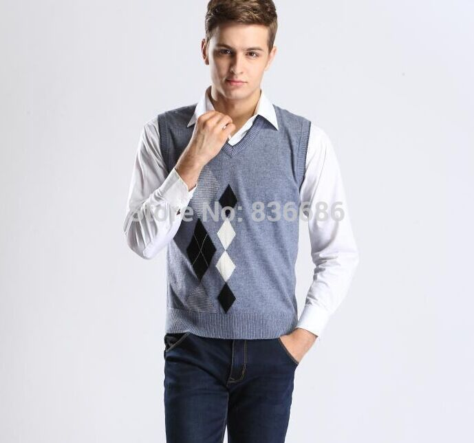 Newest style autumn mens casual v-neck diamond plaid pattern ...