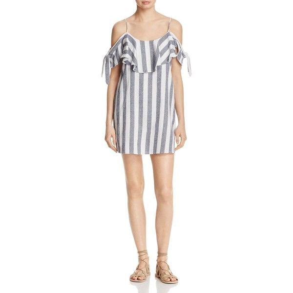 Misa Los Angeles Nicolette Cold Shoulder Stripe Dress (€200) ❤ liked on Polyvore featuring dresses, grey stripe, gray striped dress, cut out shoulder dress, grey dress, open shoulder dress and cold shoulder dress