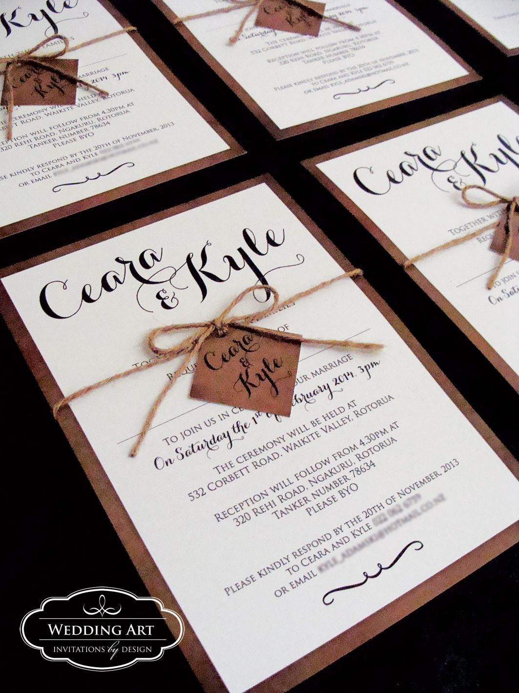 rustic wedding invitation complete with cord and tag www weddingart