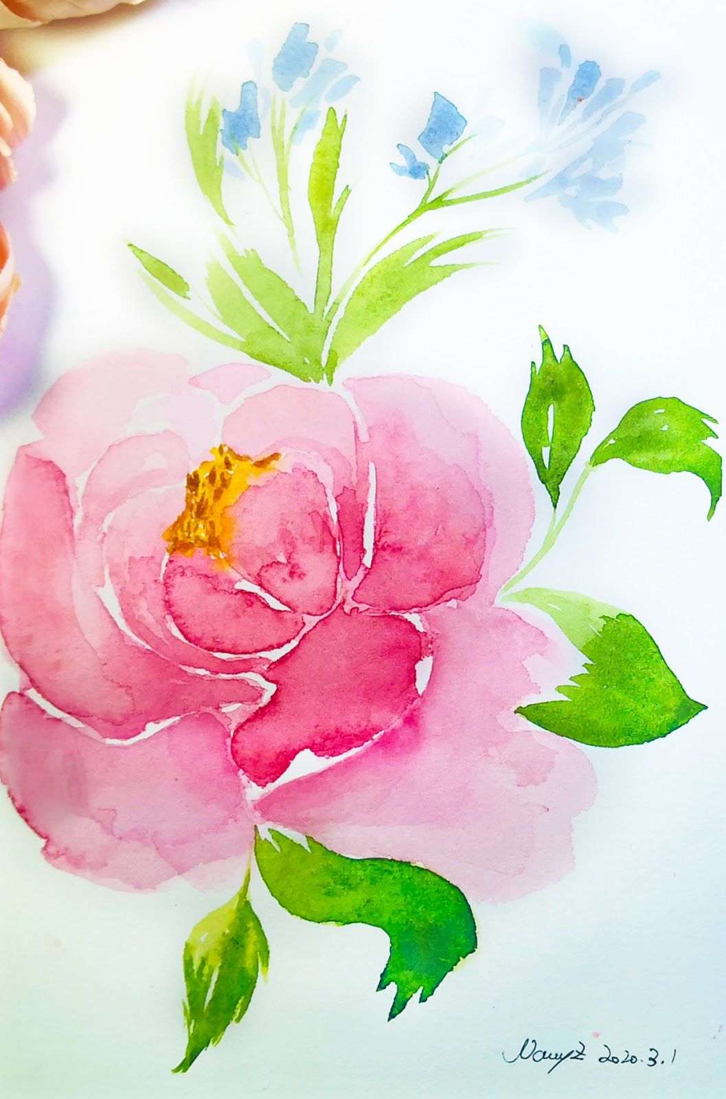 2how To Draw A Tree With Watercolor Step By Step Hinewme Peony Painting Watercolor Flowers Tutorial Watercolor Flowers Paintings