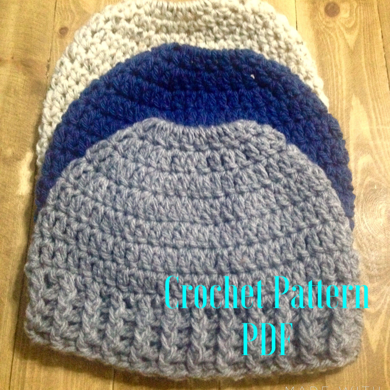 Messy Bun Hat Pattern- Bun Hat Crochet Pattern - Crochet Pattern for ...