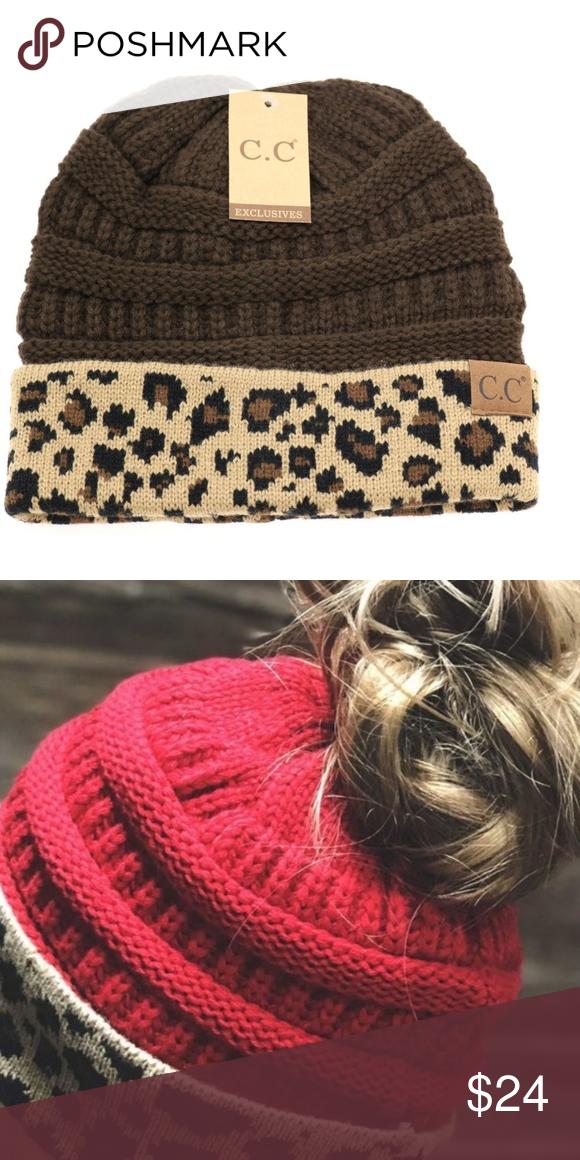 1cdbf44cf24 C.C Beanie Tail Hat Ponytail Cap Hat Leopard Print C.C Beanie Tail Hat  Messy Bun Ponytail