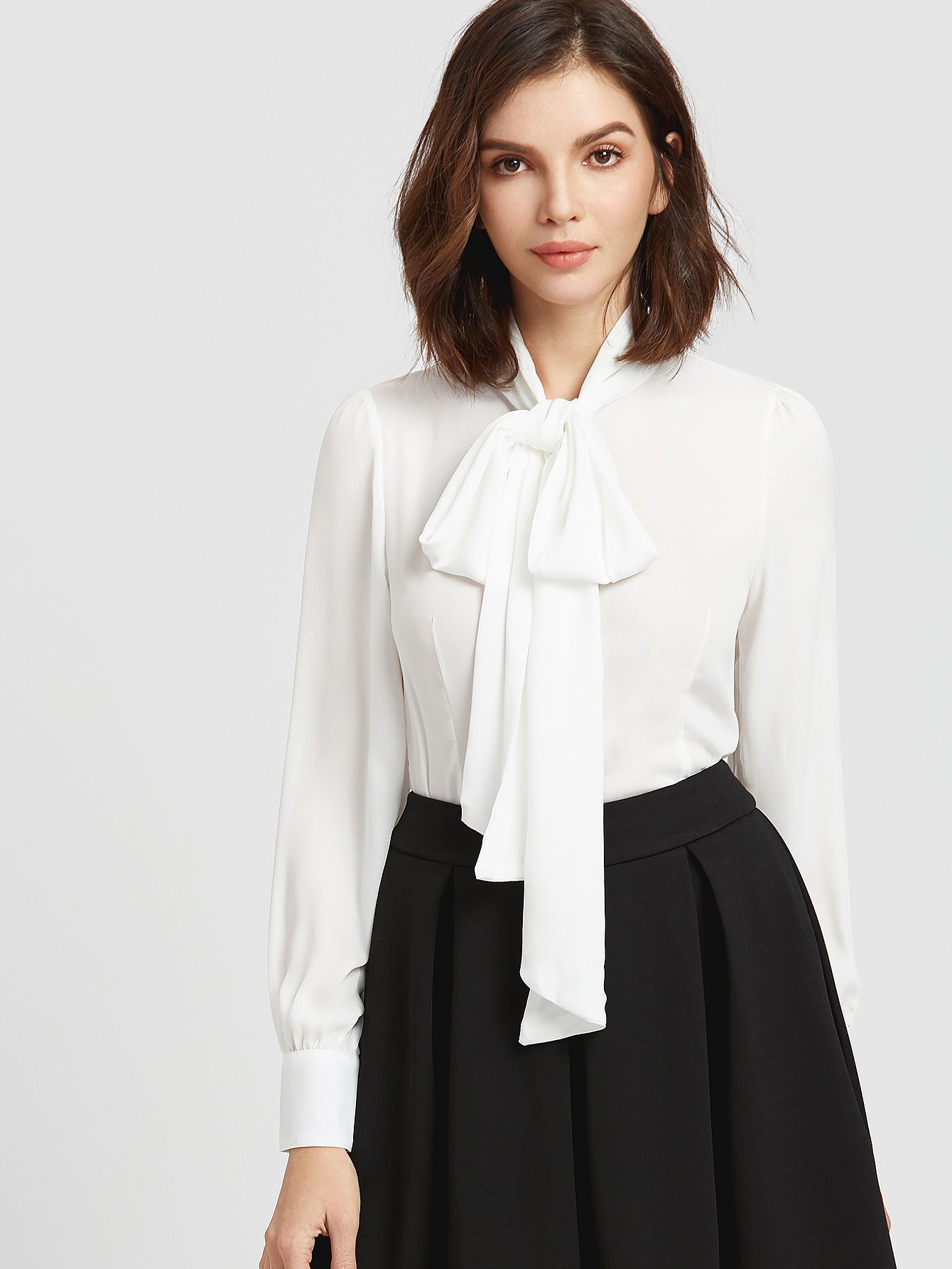 18c79f24aa6 Shop White Bow Tie Neck Curved Hem Blouse online. SheIn offers White Bow  Tie Neck
