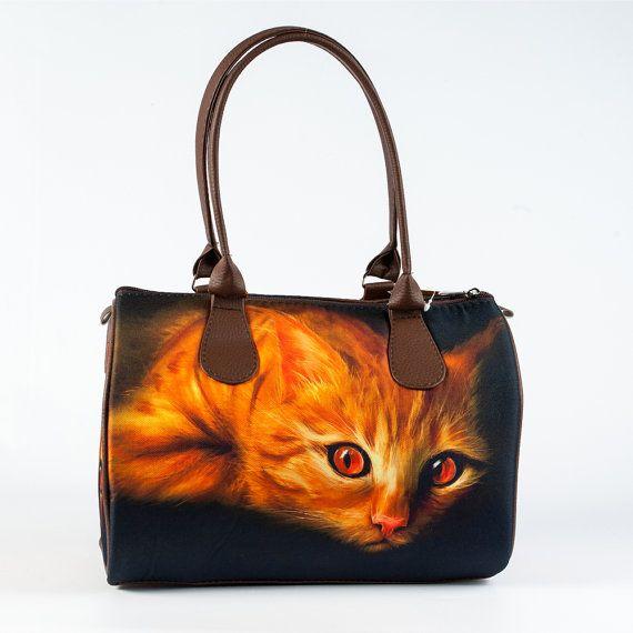 Cute Printed Handbag with a Cat, Red Cat Bag, Ladies Black Handbag, Fabric Handag, Barrel Bag for Women, Day Satchel, Designer Bag, 5138