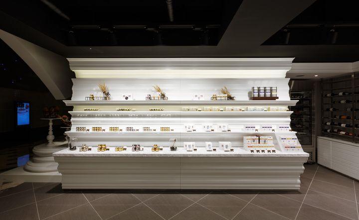 Architecture: Bakery And Wine Shop Interior Design. Column Shelves Wine  Bakery Cakes Etalase Outlet Modern Design Light Lamps Dark Ceiling Bottles  Wine