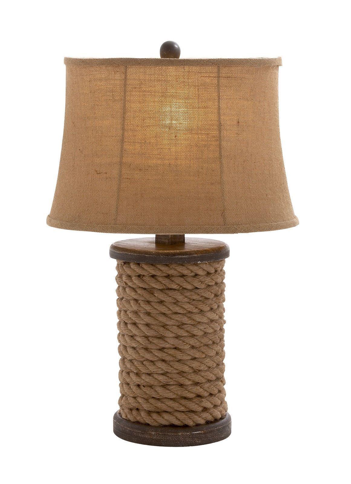 Rustic Nautical Rope Wood Table Lamp Ocean Pirate Sailor Sea Home