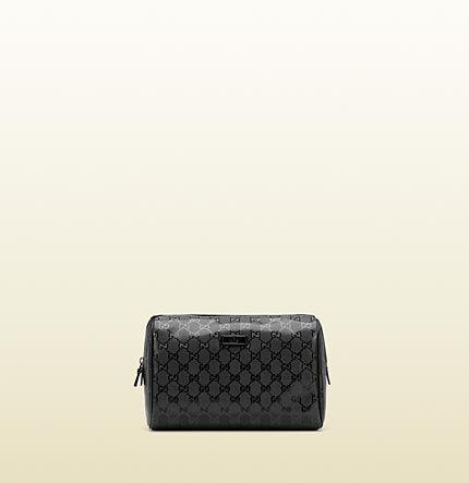 90dc2bbe4b73 large black GG imprimé toiletry case 189818 FU49R 1000 $320 Gucci Dopp Kit, Gucci  Men
