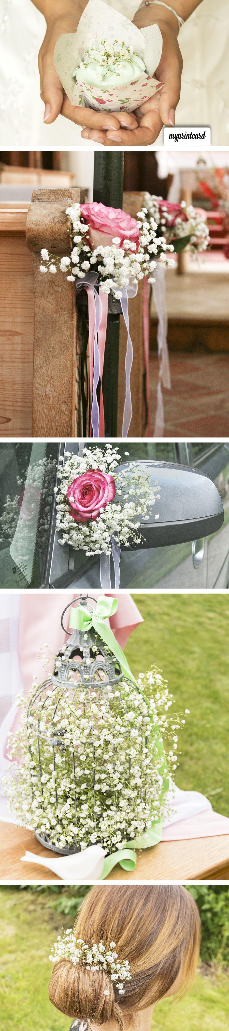 Wedding car flower decoration images  Blumendeko auf der Hochzeit mit Schleierkraut  Kleider  Pinterest