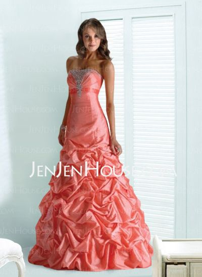 Prom Dresses - - Brilliant A-Line/Princess Strapless Floor-Length Taffeta Prom Dresses With Ruffle Beading (018004847) http://jenjenhouse.com/A-line-Princess-Strapless-Floor-length-Taffeta-Prom-Dresses-With-Ruffle-Beading-018004847-g4847
