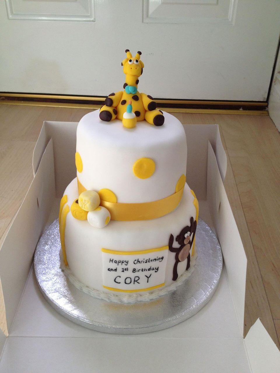 Christening cake, giraffe cake www.meloscakes.co.uk