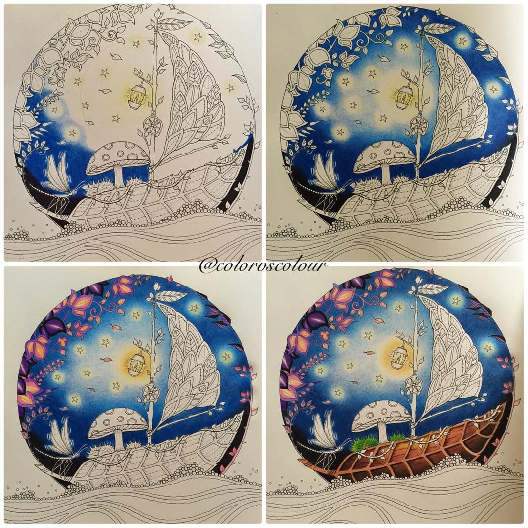 Starry Night #JohannaBasford #enchantedforest #coloringbook #coloring #stepbystep using #muji brand color pencils 60 pieces.