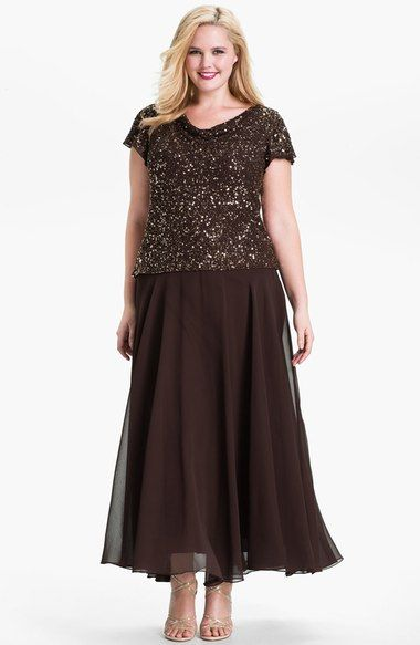 f593eb63d5e J Kara Sequin Flutter Sleeve Chiffon Gown (Plus) available at  Nordstrom