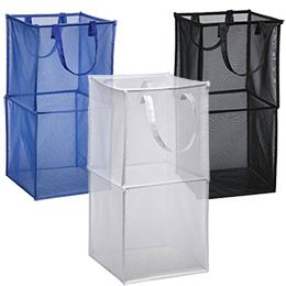 Silver Double Folding Mesh Cube Laundry Room