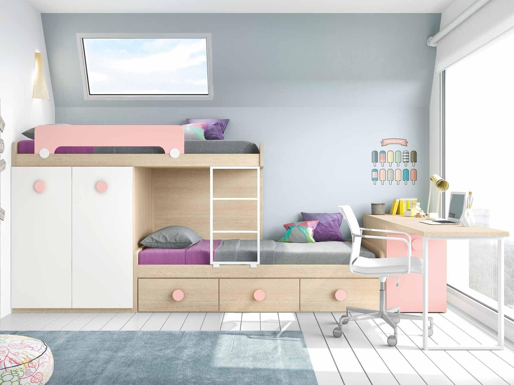 Cama tren combinada #cama #infantil #muebles #juvenil #espaijuvenil ...