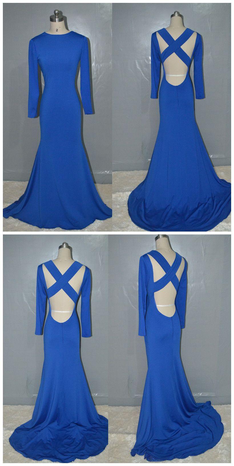 Royal blue prom dressfashion mermaid backless jersey long prom