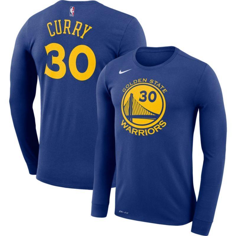 68b00313029 Nike Men s Golden State Warriors Stephen Curry  30 Dri-FIT Royal Long  Sleeve Shirt